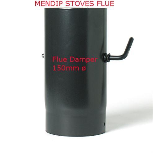 Picture of Matt Black Enamel Flue Pipe 150mm